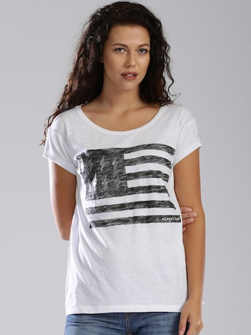 Tommy Hilfiger White Printed T-shirt at myntra