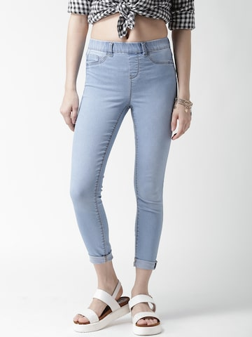 New Look Blue Washed Effect Jeggings at myntra
