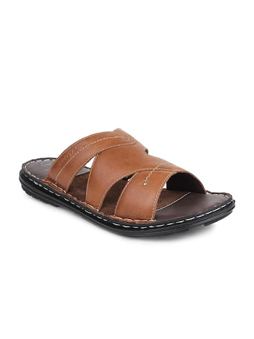 Red Tape Men Tan Brown Leather Sandals at myntra