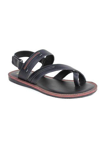 Red Tape Men Black Leather Sandals at myntra
