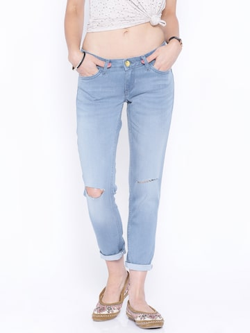 Tokyo Talkies Blue Washed Skinny Fit Jeans at myntra