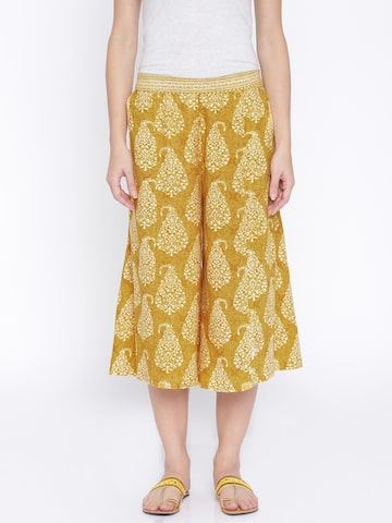 Anouk Mustard Yellow Printed Culottes at myntra