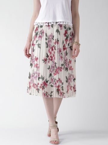 New Look White Floral Print Midi Skirt at myntra