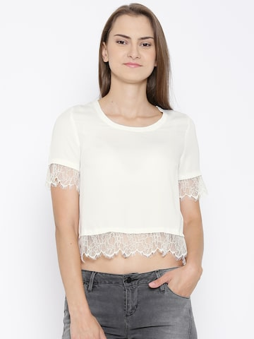 Vero Moda Off-White Polyester Crop Top at myntra