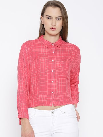 Vero Moda Coral Pink Checked Shirt at myntra