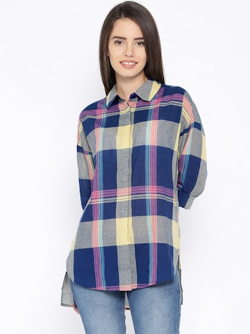ONLY Blue & Yellow Checked Shirt at myntra