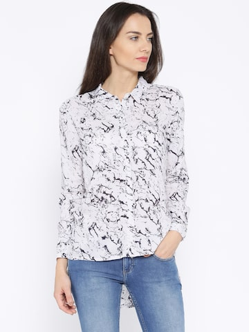 ONLY Off-White & Black Printed Shirt at myntra