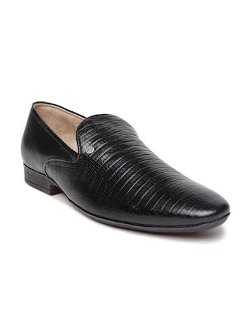 San Frissco Men Black Leather Semiformal Slip-Ons at myntra