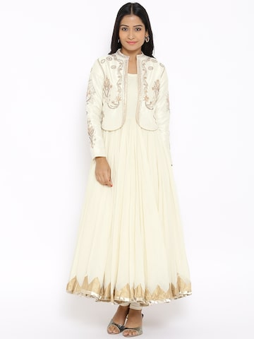 BIBA Cream-Coloured Anarkali Churidar Kurta with Ethnic Jacket at myntra