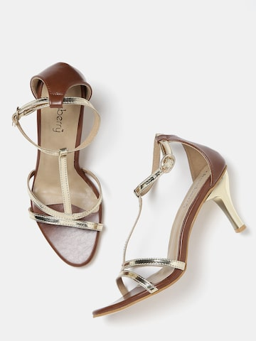 DressBerry Women Gold-Toned & Brown Slim Heels at myntra