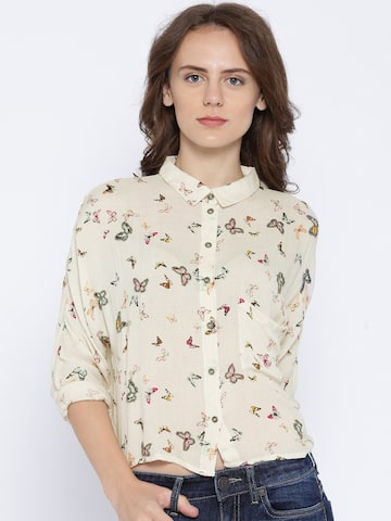 ONLY Beige Butterfly Print Shirt at myntra