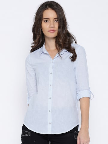 ONLY Blue & White Pinstriped Skinny Fit Shirt at myntra