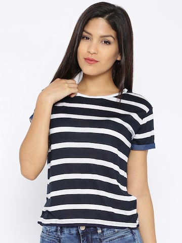 Lee Navy & White Striped Boxy Crop T-shirt at myntra