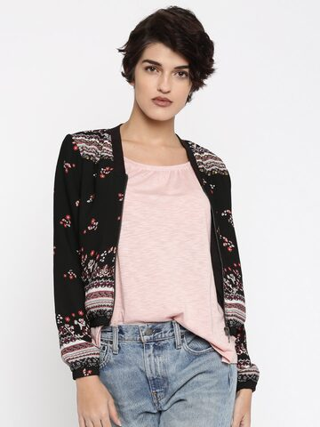 ONLY Black Floral Print Jacket at myntra