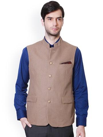 Van Heusen Brown Printed Slim Fit Nehru Jacket Van Heusen Waistcoat at myntra