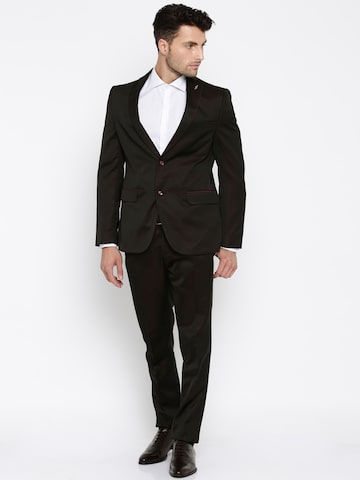 Van Heusen Dark Brown Single-Breasted Ultra Slim Fit Formal Suit at myntra