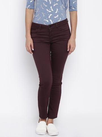 ONLY Women Purple Solid Slim Fit Flat-Front Trousers at myntra