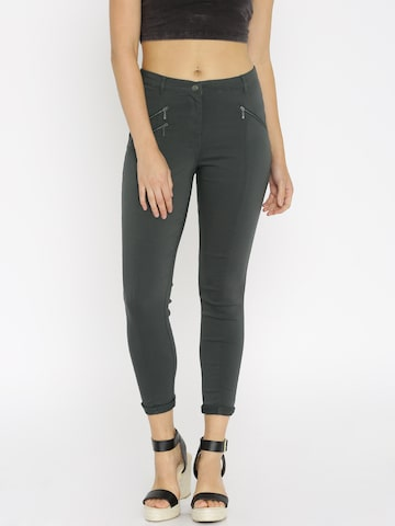 ONLY Women Grey Slim Fit Flat-Front Trousers at myntra