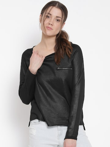 ONLY Women Black Solid Top at myntra