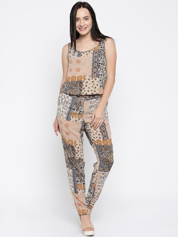 ONLY Brown Printed Jumpsuit at myntra