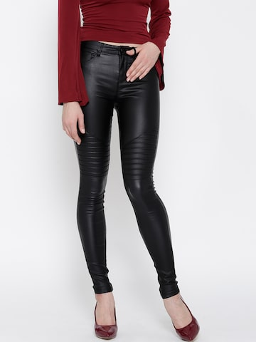 ONLY Women Black Skinny Fit Mid Rise Clean Look Jeans at myntra