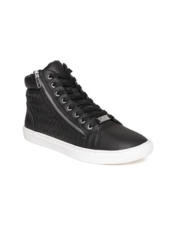 Steve Madden Women Black Mid-Top Patterned Sneakers at myntra