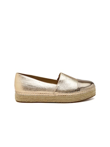 Steve Madden Women Gold-Toned Espadrilles at myntra