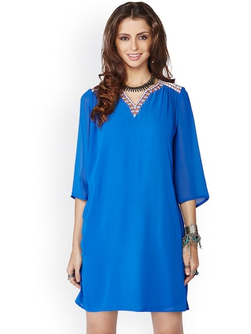 Global Desi Blue Shift Dress at myntra