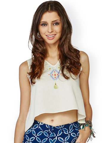 Global Desi Off-White Crop Top with Embroidered Detail at myntra