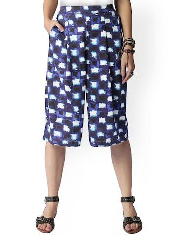 Global Desi Blue Printed Relaxed Fit Culottes at myntra