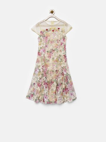 Tiny Girl Beige Floral Print A-Line Dress at myntra
