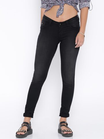 U.S. Polo Assn. Women Black Jeggings at myntra