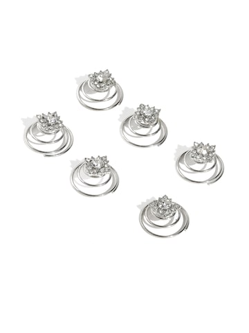 Accessorize Silver-Toned Set of 6 Hair Accessories at myntra