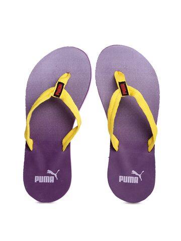 PUMA Women Yellow & Purple Printed Flip-Flops at myntra