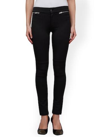 Cherymoya Black Ankle-Length Slim Trousers at myntra