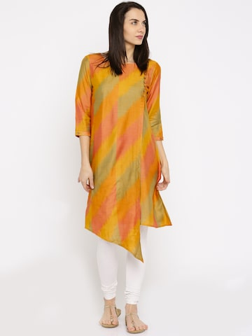 Anouk Women Mustard Yellow Ikkat Silk Kurta at myntra