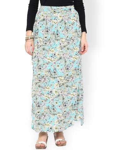 Gipsy Blue & White Printed Maxi Skirt at myntra