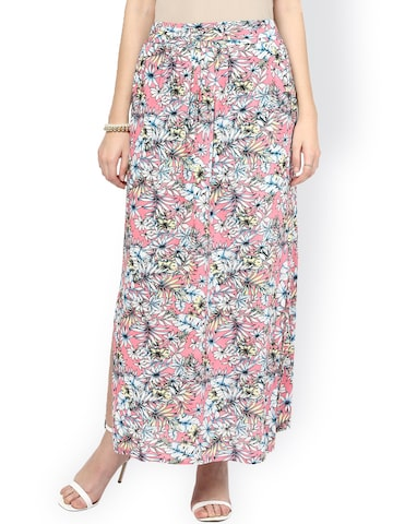 Gipsy Pink & White Floral Print Maxi Skirt at myntra