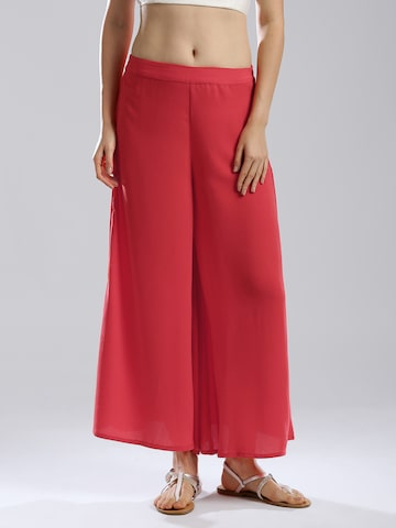 W Coral Red Polyester Palazzo Trousers at myntra