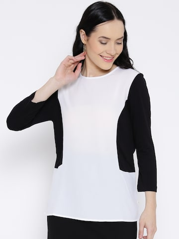 United Colors of Benetton Women Black & White Colourblocked T-Shirt at myntra