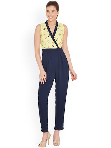 The Vanca Yellow & Navy Printed Jumpsuit at myntra