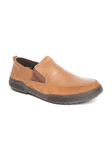 Numero Uno Men Brown Solid Slip-On Leather Sneakers at myntra