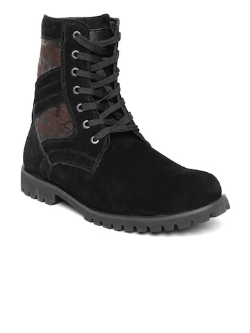 Numero Uno Men Black Solid High-Top Flat Boots at myntra