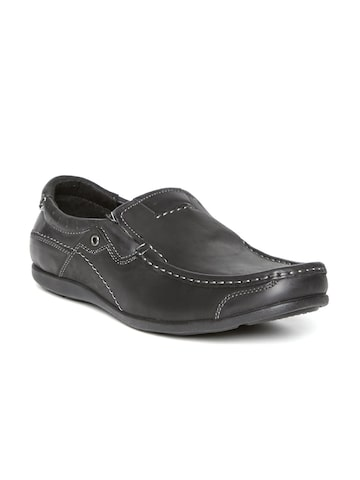 Numero Uno Men Black Solid Regular Leather Loafers at myntra