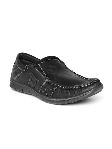 Numero Uno Men Black Leather Loafers at myntra