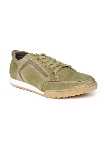 Numero Uno Men Olive Green Leather Sneakers at myntra