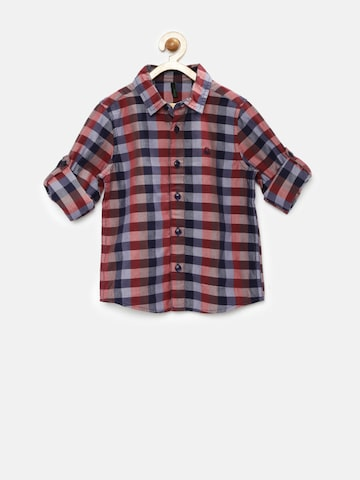 United Colors of Benetton Boys Navy & Red Checked Shirt at myntra