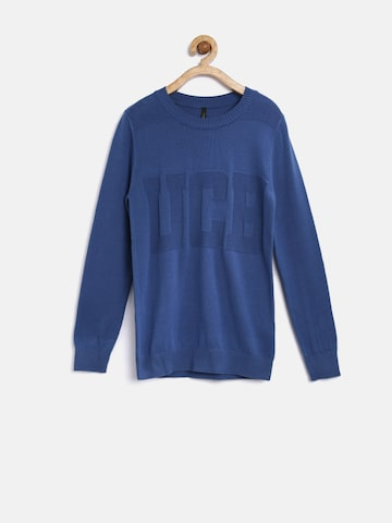 United Colors of Benetton Boys Blue Sweater at myntra