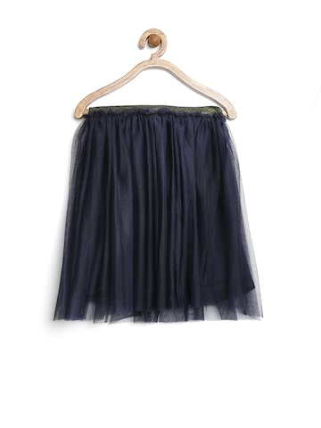 United Colors of Benetton Girls Navy Tulle Skirt at myntra