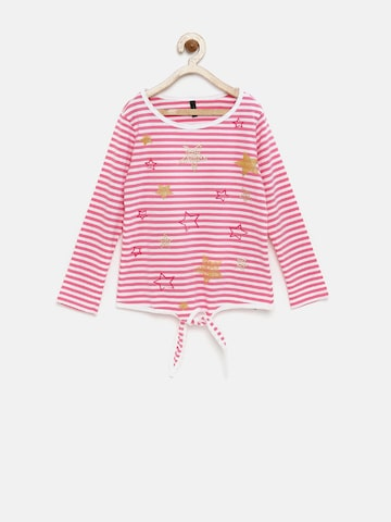 United Colors of Benetton Girls Pink & White Striped & Printed T-shirt at myntra